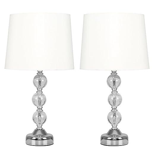 Pair of modern large chrome crackle glass ball table lamps with pair of modern large chrome crackle glass ball table lamps with cream faux silk aloadofball Gallery