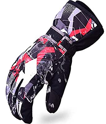 Family Boy Snow Ski Gloves Winter Waterproof Touchscreen Outdoor Cold Weather Snowboard Gloves Black