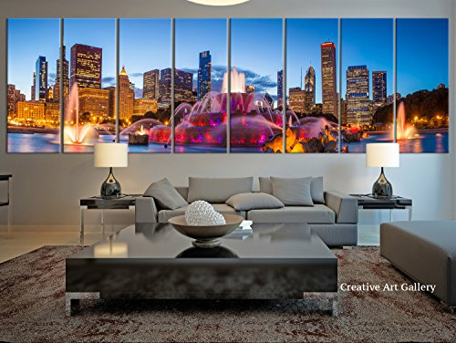 City Wall Art - 8 Panel Extra Large Chicago City Canvas Print, Large Chicago Night City Skyline Wall Art Canvas Print- 12x32 Inch Each Panel- 96x32 Inch ()