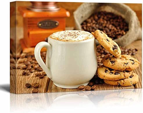 White Coffee Cup with Foam and Biscuits Cookies Wall Decor