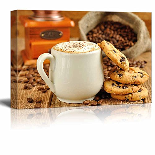 Canvas Prints Wall Art - White Coffee Cup with Foam and Biscuits/Cookies   Modern Wall Decor/Home Decoration Stretched Gallery Canvas Wrap Giclee Print & Ready to Hang - 24