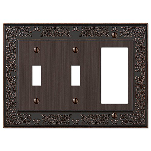 (French Garden Double Toggle Switch and Single GFCI Decora Rocker Wall Plate Cover Combo, Oil Rubbed Bronze)