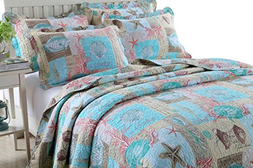 Newrara Seashell Beach Bedding Queen Beach Theme Quilt Set