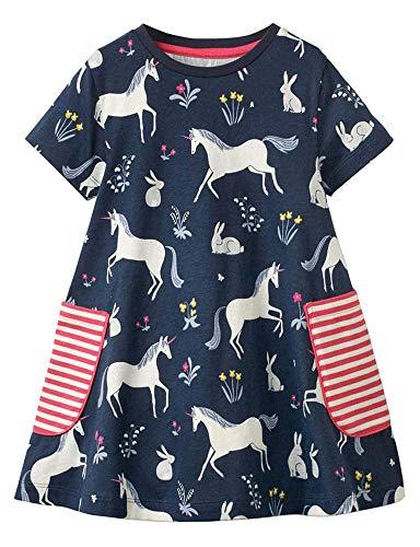 Girls Dresses Summer Casual Toddler Cotton Short Sleeves Stripe Flower Unicorn Dress for Kids Aged 1-8 Years
