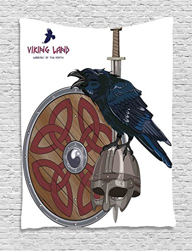 Viking Wall Hanging Tapestry by Ambesonne, Raven on Steel Helmet Nordic Sword Shield Warfare Scandinavian Army Medieval Armour, Bedroom Living Room Dorm Decor, 40WX60L Inches, Dark Blue Grey Caramel
