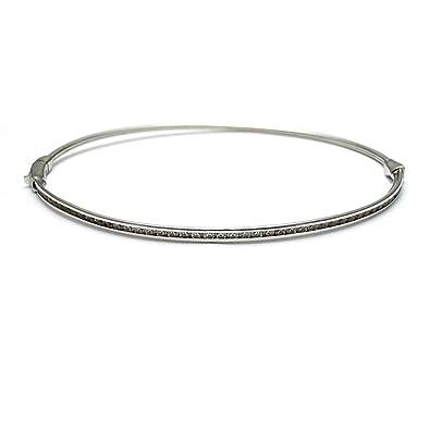1ca935719390 Pulsera oro blanco 18k rígida diámetro 6.3cm. circonitas  AA1770    Amazon.es  Joyería