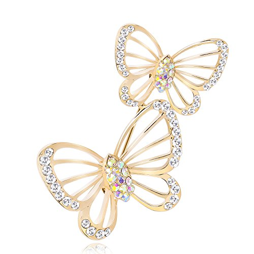 sourjas Gold Hollow Butterfly Brooch Clear Crystal Brooch Pins Elegant Women Girl Jewelry for Wedding Party