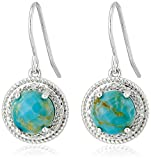 Sterling Silver Turquoise and Diamond Accent Rope Framed Earrings