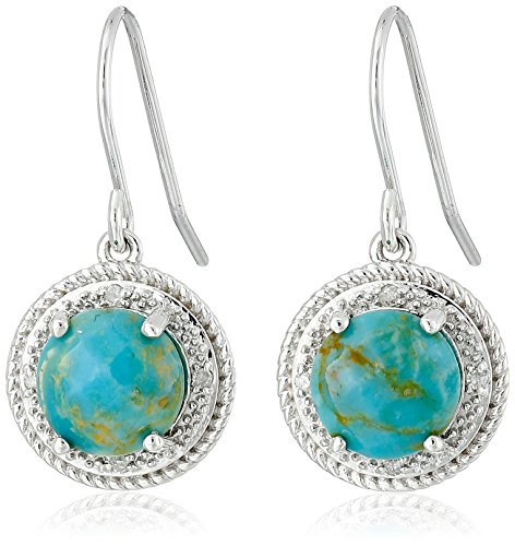 Sterling Silver Turquoise Accent (Sterling Silver Turquoise and Diamond Accent Rope Framed Earrings)
