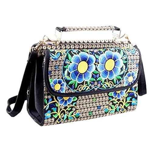 Bag Embroidery Q Messenger Shoulder Ethnic Women Tote Handbag Bag Canvas YOwxq14q