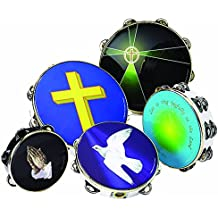 """Remo Fiberskyn 10"""" Double Jingle Tambourine with Heavenly Light Graphic (Teen/Adult)"""