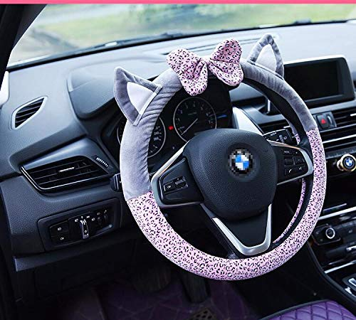 DuoDuoBling Cat Ears Steering Wheel Cover for Women (Pink)