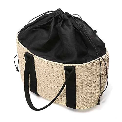Women Off Design Bag and Use Tote Tezoo Handmade Bag Handle Shopping Beach Shoulder Woven Straw Long for Daily White Bag Summer bag Holiday Wicker with FRgaWFqrB