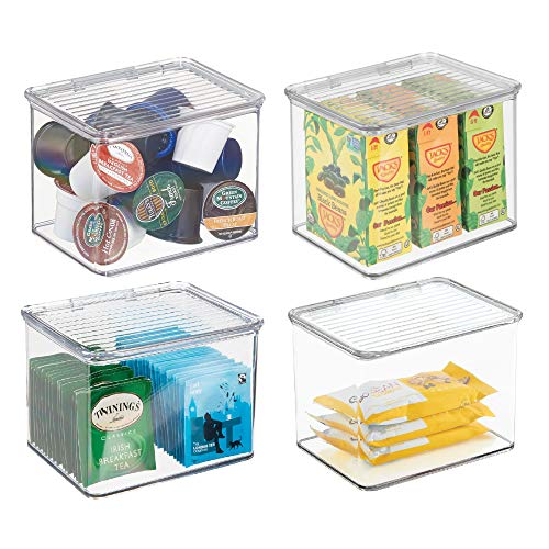 mDesign Stackable Plastic Kitchen Pantry Cabinet or Refrigerator Food Storage Container Bin, Attached Hinged Lid - Organizer for Snacks, Produce, Pasta - BPA Free - Deep Container, 4 Pack -Clear