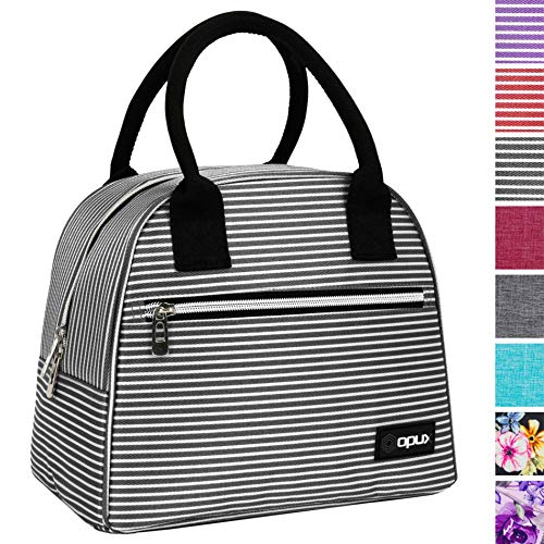 OPUX Lunch Bag for Women   Insulated Lunch Tote for Ladies, Girls, Female   Medium Reusable Soft Lunch Box Purse Cooler for School, Work, Office   Fits 12 Cans (Black White Stripes)