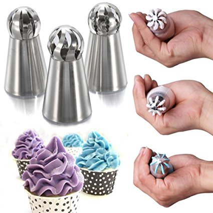 9Snail 3 pcs Cake Decorating Supplies New Sphere Ball Tips Russian Icing Piping Nozzles Tips Pastry Cupcake by 9Snail (Image #3)