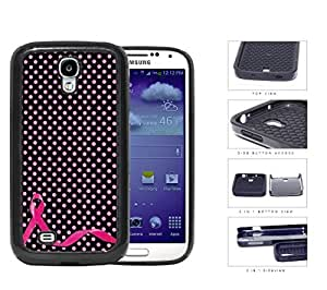 Breast Cancer Pink Ribbon Polka Dots 2-Piece Dual Layer High Impact Rubber Silicone Cell Phone Case Samsung Galaxy S4 SIV I9500
