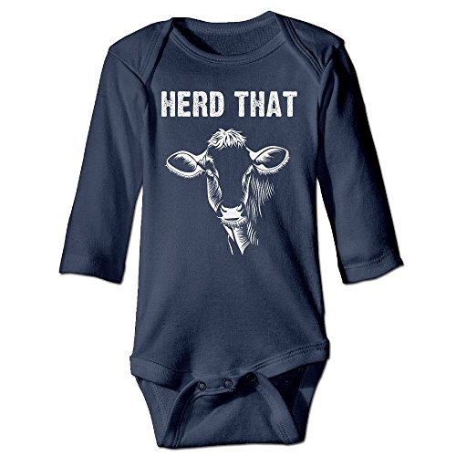 Herd That Cow Baby Long Sleeves Climbing Clothes Unisex Outfit Rompers Size 18 Months Navy Novelty ()