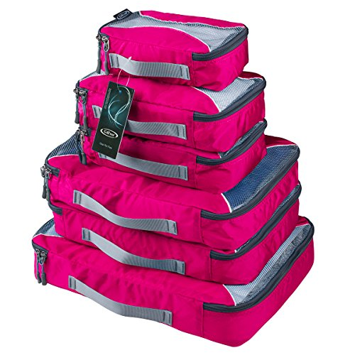 G4Free Packing Cubes 6pcs Set Travel Accessories Organizers Versatile Travel Packing Bags (Pink)