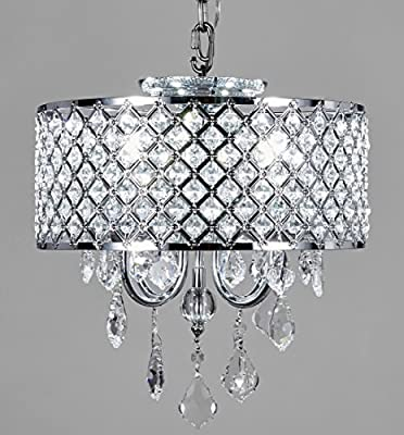 New Legend Lighting Chrome 4-Light Round Crystal Chandelier Pendant Ceiling Fixture