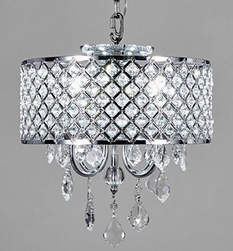 New Galaxy Lighting 4-Light Chrome Round Metal Shade Crystal Chandelier Pendant Hanging Ceiling Fixture