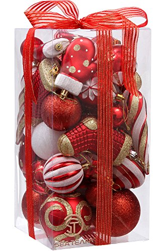 Sea Team 50-Pack Assorted Shatterproof Christmas Ball Ornaments Set Decorative Baubles Pendants with Premium Gift Wrapping Ribbon for Xmas Tree (Red)