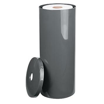 mDesign portarrollos de pie - Elegante dispensador de papel de plástico resistente - Portarrollos baño para 3 rollos color gris pizarra: Amazon.es: Hogar