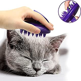 CeleMoon [Soft Silicone Pins] Ultra-Soft Silicone Washable Cat Grooming Shedding Massage/Bath Brush - Safe & No Scratching Any More - Purple