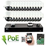 Cheap GW Security 32CH 1080P NVR Network IP Security Camera System – 24 x HD 1080P 5.0 Megapixel 2.8~12mm Varifocal Zoom 80ft IR PoE IP Dome Camera + 8TB Hard Drive + 24 Ports PoE Switch – Support ONVIF P2P Quick QR Code Remote Access