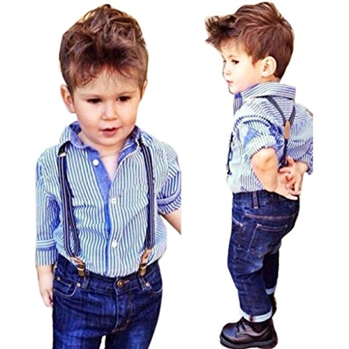 Custom Embroidered Denim Shirt (Baby Boys Outfit Set, Franterd Striped Shirt Tops Bib+Straps Jeans Overalls)