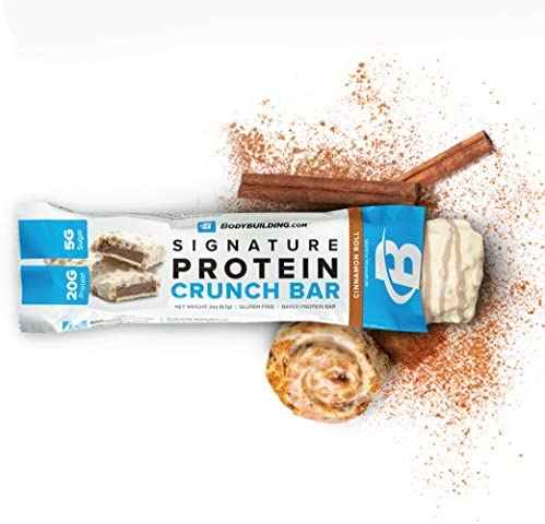 Bodybuilding Signature Protein Crunch Bar 20g Whey Protein Low Sugar Gluten Free No Artificial Flavors 12 Bars, Cinnamon ROLL