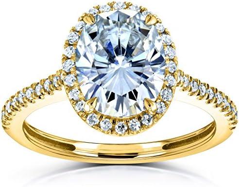 Kobelli Oval Moissanite Halo Engagement Ring 2 1/4 CTW 14k Yellow Gold