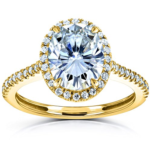 Oval Moissanite and Diamond Halo Engagement Ring 2 1/4 CTW 14k Yellow Gold