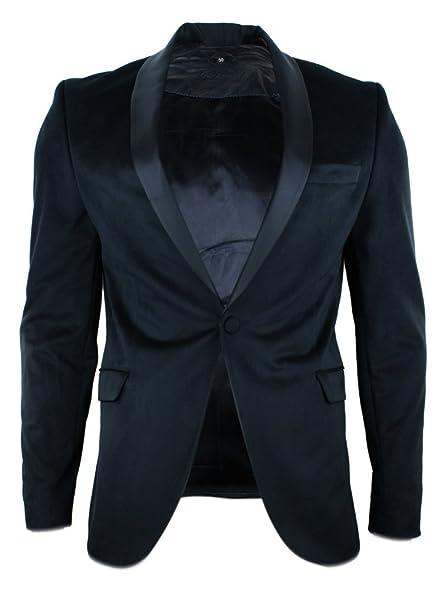 Mens Smart Casual Black Vevet Blazer Jacket Round Shawl Lapel ...