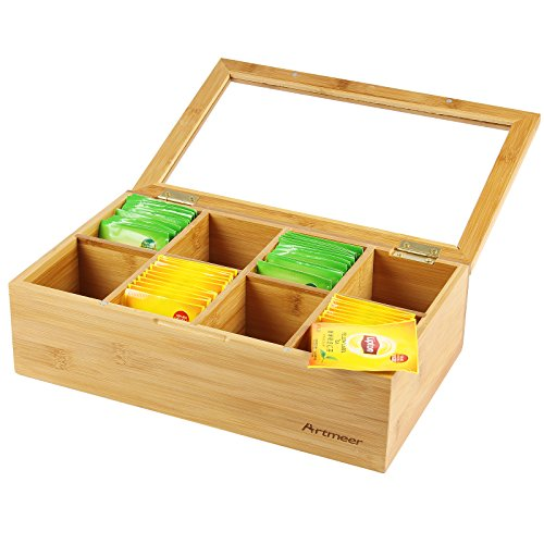 Review Artmeer Bamboo Tea Storage Box with Clear Lip, Natural