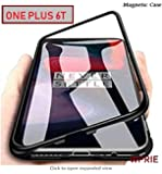 Wprie Frame & Tempered Glass Back, Built-In Powerful Magnet Back Cover For Oneplus 6T - Transparent With Black Rim