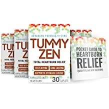 TummyZen Complete Heartburn Relief with Zinc and Calcium – 120 Doses (4 Boxes of 30) Plus Guide