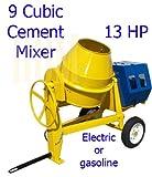 9 CU Cubic Concrete Cement Mixer 13HP Electric Gas Gasoline