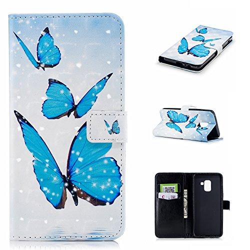 Samsung Galaxy A5 2018 Funda, Galaxy A5 2018 Cover Case, Vandot Pintura Caja de Cuero de la PU 3D Lindo Patrón de Mariposas Magnético Folio Flip Libro Carcasas con Stand Función Ranuras para Tarjetas  CHPT-2