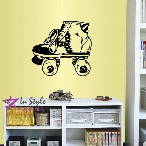 Wall Vinyl Decal Home Decor Art Sticker Retro Roller Skates Sport Kids Bedroom Room Removable Stylish Mural Unique Design