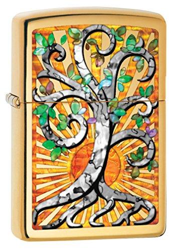Zippo Lighter Mint - Zippo Custom Lighter: Fusion Tree of Life - High Polish Brass 78816