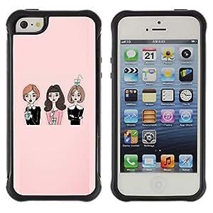 WAWU Funda Carcasa Bumper con Absorci??e Impactos y Anti-Ara??s Espalda Slim Rugged Armor -- pink fashion lady friends church -- Apple Iphone 5 / 5S