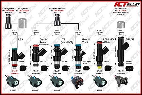 LS FUEL RAIL SPACER KIT for Siemens Deka Swap Injectors LS Truck Intake  551305