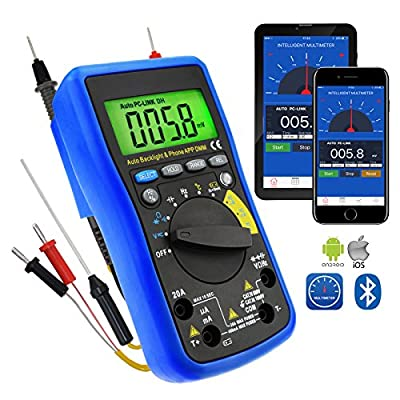 Digital DMM Bluetooth Multimeter with iOS & Android Mobile App, AC DC voltage, AC DC current, Auto Range, Capacitance, Resistance, Frequency, Diode and Continuity Test, Duty Cycle, Temp., Meter Tester