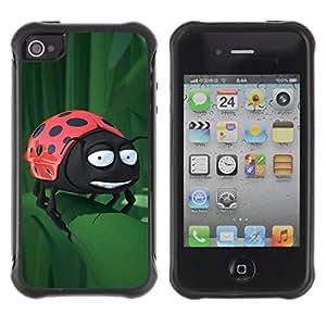 Pulsar Defender Series Tpu silicona Carcasa Funda Case para Apple iPhone 4 / iPhone 4S , Funny Ladybug On Leaf