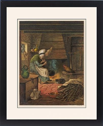 Framed Print Of Old Cottage Woman by Prints Prints Prints