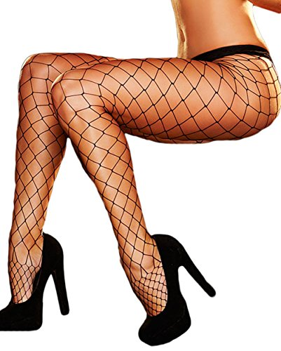 Costume National Sheer (LittleLittleSky Womens Sexy Fishnet Tights High Waist Diamond Net Pantyhose for Cosplay Costumes (Black1))