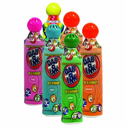Six Pack 1.5oz Mini Tip Dab-O-Ink Assorted Bingo Dauber (Mini Bingo)