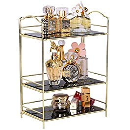 Simmer Stone 3 Tier Makeup Perfume Organizer Shelf, Cosmetic Storage Corner Shelf with Removable Glass Tray, Wire Vanity Organizer Rack for Dresser, Countertop, Bathroom and More, Gold