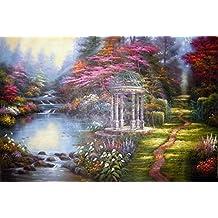AMountletstore the garden of prayer a gazebo flower footpath stream Thomas Kinkade rural landscape senery oil painting printed on canvas wallpaper 20x24(inches)